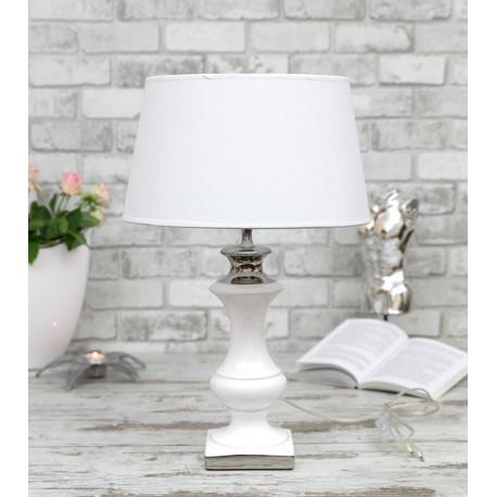 LAMPA STOŁOWA BIAŁA SREBRNA 47cm CERAMICZNA Z BIAŁYM KLOSZEM STOJĄCA NOWOCZESNA