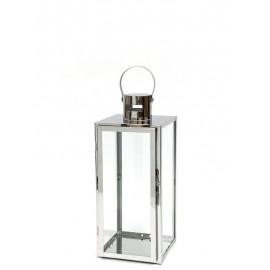 LAMPION SREBRNY METALOWY 36cm NOWOCZESNY LATARNIA POLEROWANY 35cm