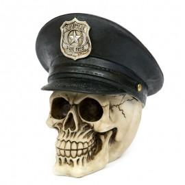 FIGURKA CZASZKA Z CZAPKĄ POLICYJNĄ BEŻOWA CZARNA 18x18cm