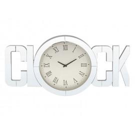 ZEGAR LUSTRZANY CLOCK BIAŁY 100x50cm Z LUSTREM ŚCIENNY Z BIAŁĄ TARCZĄ