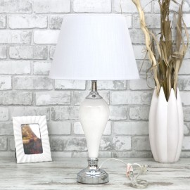 LAMPA BIAŁA CERAMICZNA STOŁOWA 60cm SREBRNA Z BIAŁYM KLOSZEM STOJĄCA