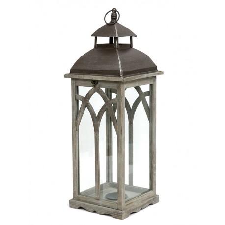 LAMPION BRĄZOWY DREWNIANY 68cm METALOWY Z UCHWYTEM 70cm NOWOCZESNY