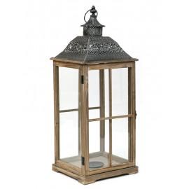 LAMPION BRĄZOWY DREWNIANY 73cm Z UCHWYTEM