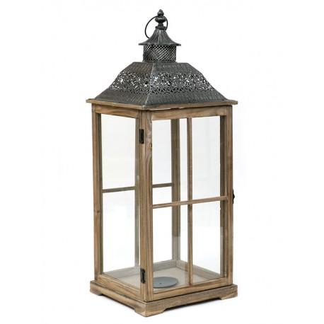 LAMPION BRĄZOWY GRAFITOWY DREWNIANY 73cm METALOWY LATARNIA 70cm
