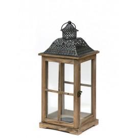 LAMPION BRĄZOWY DREWNIANY 50cm Z UCHWYTEM