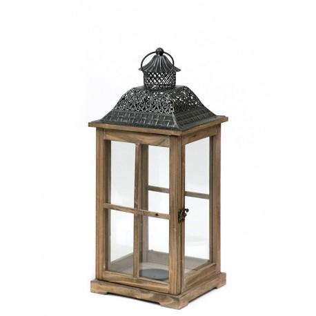 LAMPION BRĄZOWY GRAFITOWY DREWNIANY 50cm METALOWY LATARNIA RETRO