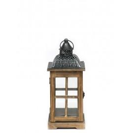 LAMPION BRĄZOWY DREWNIANY 35cm Z UCHWYTEM