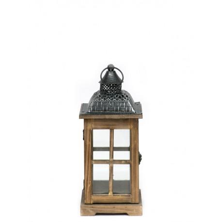 LAMPION BRĄZOWY GRAFITOWY DREWNIANY 35cm METALOWY LATARNIA RETRO