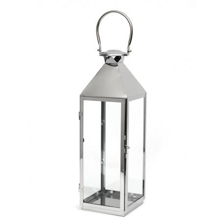 LAMPION SREBRNY METALOWY 65cm NOWOCZESNY Z UCHWYTEM LATARNIA POLEROWANY