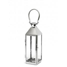 LAMPION SREBRNY METALOWY 50cm NOWOCZESNY LATARNIA POLEROWANY 48cm