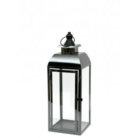 LAMPION METALOWY CZARNY POLEROWANY h-38cm