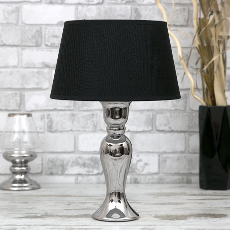 LAMPA STOŁOWA SREBRNA CZARNA 47cm CHROMOWANA Z CZARNYM KLOSZEM STOJĄCA
