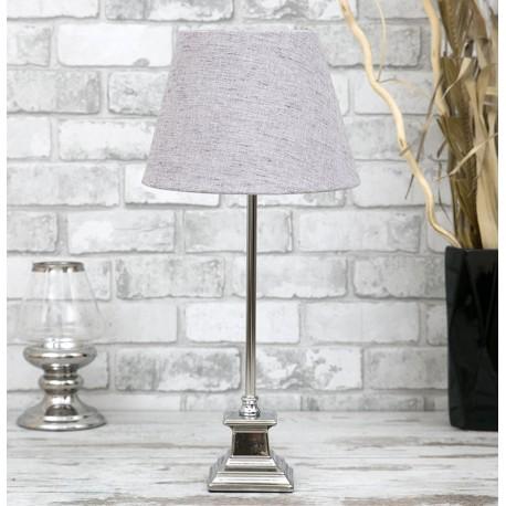 LAMPA STOŁOWA SREBRNA SZARA 53cm CHROMOWANA Z SZARYM KLOSZEM STOJĄCA