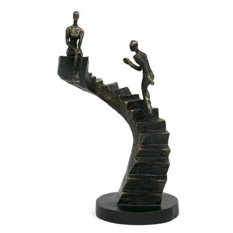 Figurka Para Na Schodach 35cm Czarna Złota Dekoracyjna Pary Brązowa