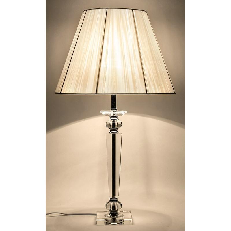 Lampa Stołowa Glamour 65cm Z Białym Kloszem Biała 60 Stojąca Chromowana