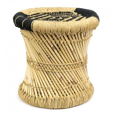 STOŁEK / TABORET BAMBUSOWY BRĄZOWY 40cm PUFA BAMBUS BEŻOWA NOWOCZESNY