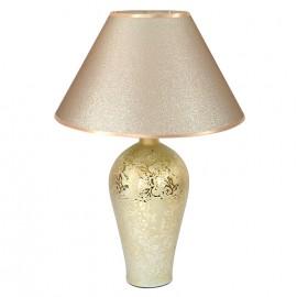 LAMPA STOŁOWA ZŁOTA 58cm CERAMICZNA ZE ZŁOTYM KLOSZEM 60cm STOJĄCA