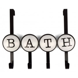 WIESZAK ŁAZIENKOWY BATH ŚCIENNY CZARNY 4 HAKI METALOWY DO ŁAZIENKI