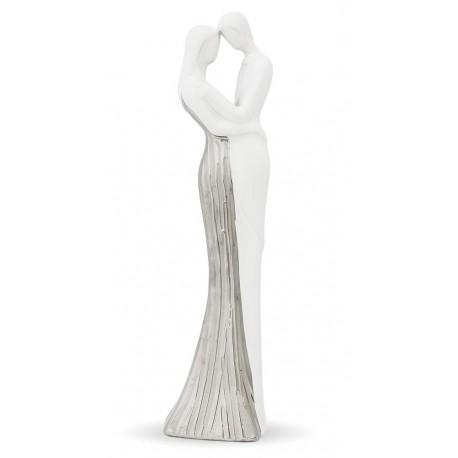 Figurka Para Biała 37cm Srebrna Dekoracja Zakochani Ozdoba Prezent 40cm