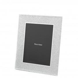 RAMKA LUSTRZANA Z BROKATEM NA ZDJĘCIE 10x15cm SREBRNA GLAMOUR Z LUSTER