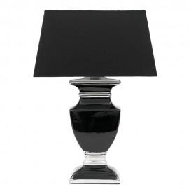 LAMPA STOŁOWA CZARNA SREBRNA CERAMICZNA h-42cm