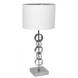 LAMPA STOŁOWA BIAŁA SREBRNA 55cm METALOWA Z BIAŁYM KLOSZEM GLAMOUR STOJĄCA
